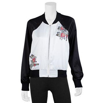 Juniors' IZ Byer Floral Embroidered Bomber Jacket