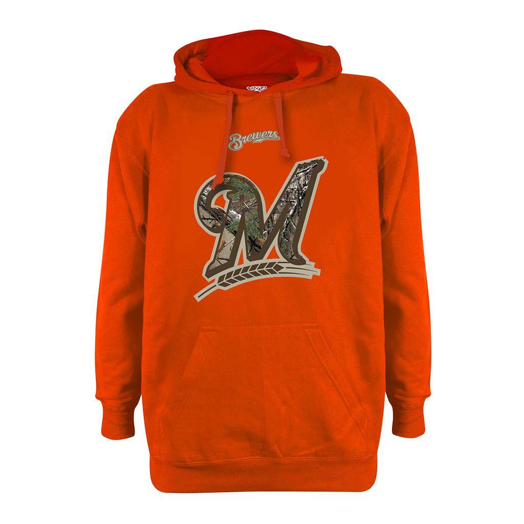 Men's Stitches Milwaukee Brewers Realtree Blaze Orange Hoodie