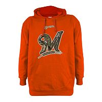 Men's Stitches Milwaukee Brewers Realtree Blaze Orange Hoodie