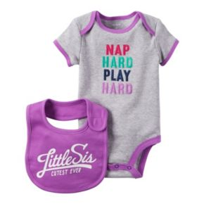 "Baby Girl Carter's ""Nap Hard Play Hard"" Bodysuit & ""Cutest Little Sis Ever"" Bib Set"