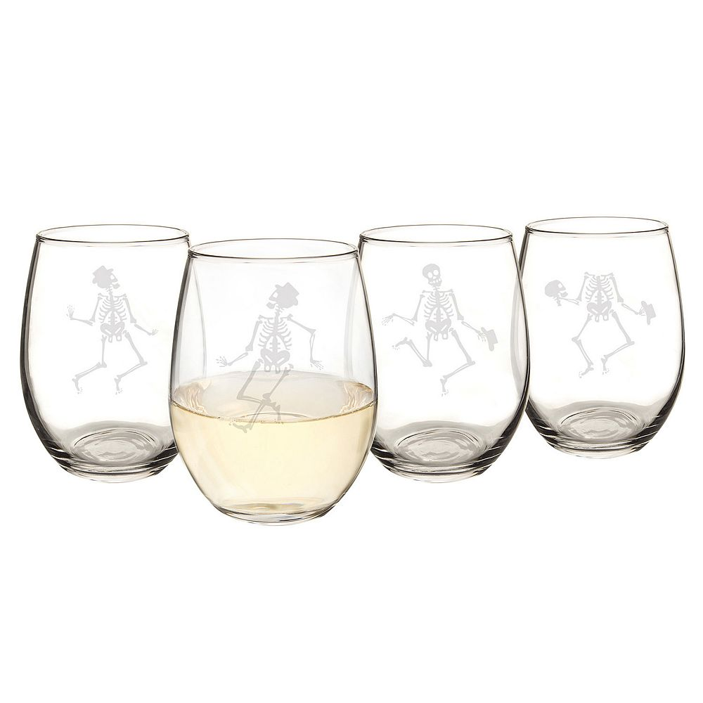 Cathy's Concepts 4-pc. Dancing Skeletons Stemless Wine Glass Set