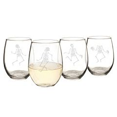 Cathy's Concepts 4 pc Dancing Skeletons Stemless Wine Glass Set