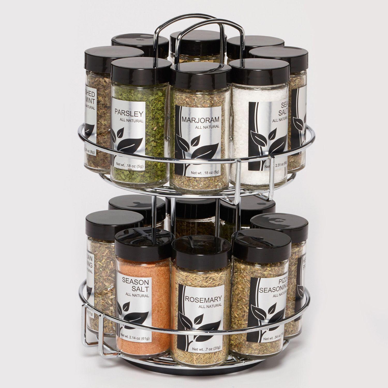 Beau Kamenstein Chrome Wire Revolving 16 Jar Spice Rack