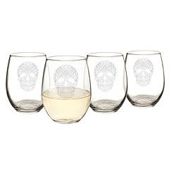 Cathy's Concepts 4 pc Sugar Skull Stemless Wine Glass Set