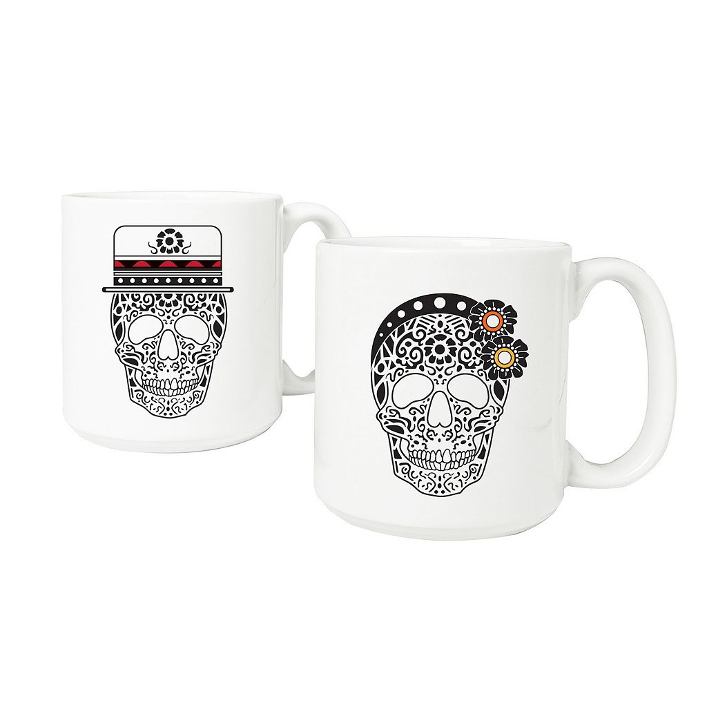 Cathy's Concepts His & Hers Sugar Skull Coffee Mug Set