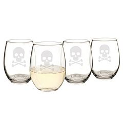 Cathy's Concepts 4 pc Skull & Crossbones Stemless Wine Glass Set