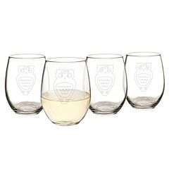 Cathy's Concepts 4 pc Owl Stemless Wine Glass Set