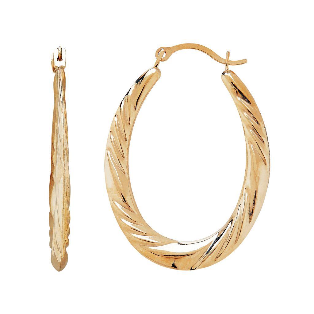 Everlasting Gold 10k Gold Twist Oval Hoop Earrings