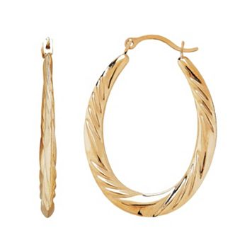 Everlasting Gold 10k Gold Twist Oval Hoop Earrings