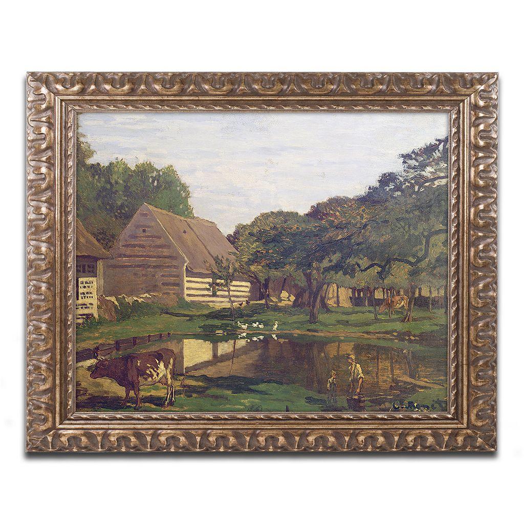 Trademark Fine Art A Farmyard In Normandy, 1863 Ornate Framed Wall Art