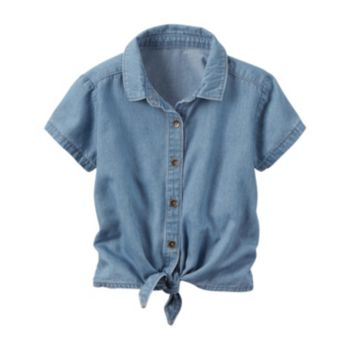 Girls 4-8 Carter's Chambray Tie-Front Top