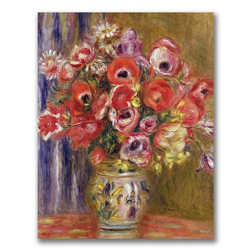 Trademark Fine Art Vase Of Tulips And Anemones Canvas Wall Art