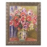 Trademark Fine Art Vase Of Tulips And Anemones Ornate Framed Wall Art