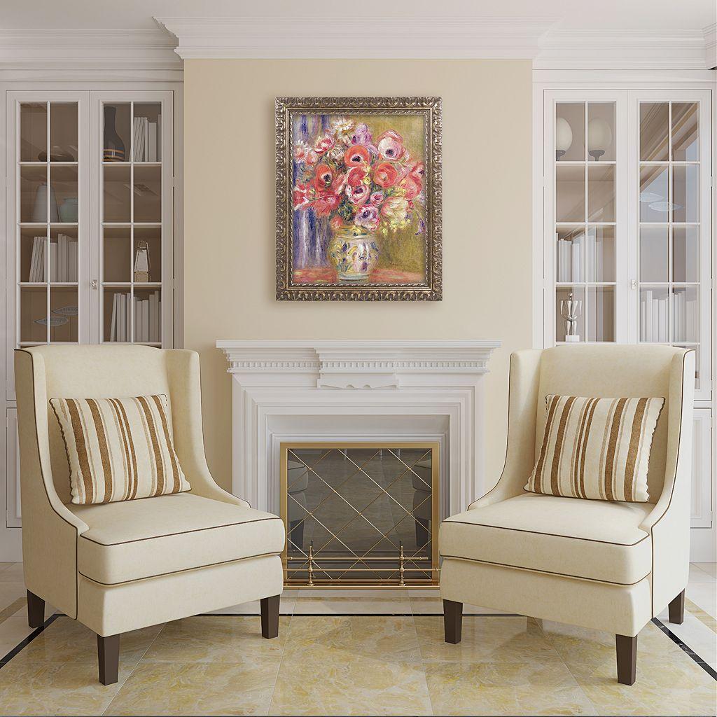 Trademark Fine Art Vase Of Tulips And Anemones Ornate Framed Wall Art