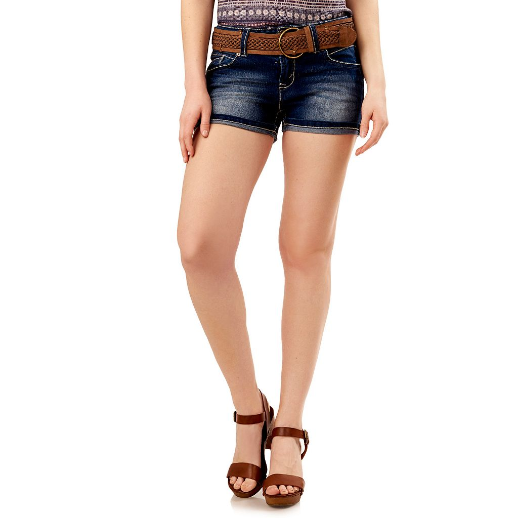 Juniors' Wallflower Luscious Curvy Jean Shortie Shorts