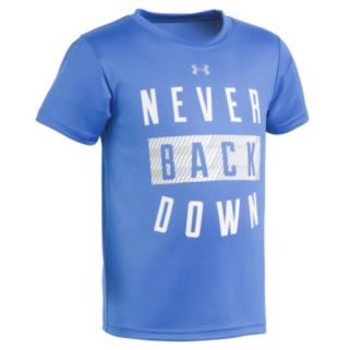 "Toddler Boy Under Armour Blue ""Never Back Down"" Tee"