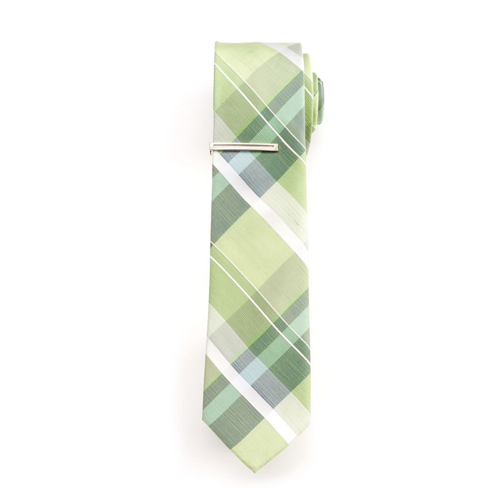 Men's Van Heusen Spring Plaid Skinny Tie With Tie Bar