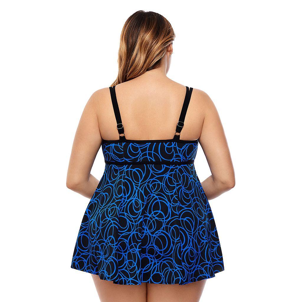 Plus Size Great Lengths Hip Minimizer Swimdress