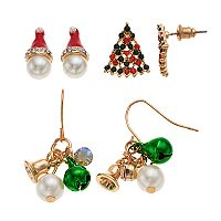 Santa Hat & Christmas Tree Nickel Free Drop Earring Set