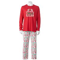 Jammies For Your Families Men's Fairisle Red 2 pc Pajamas