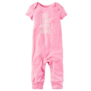 "Baby Girl Carter's ""Cute Is My Middle Name"" Coverall"