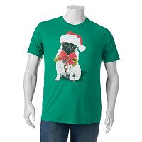 Big & Tall Pug In A Santa Hat Tee