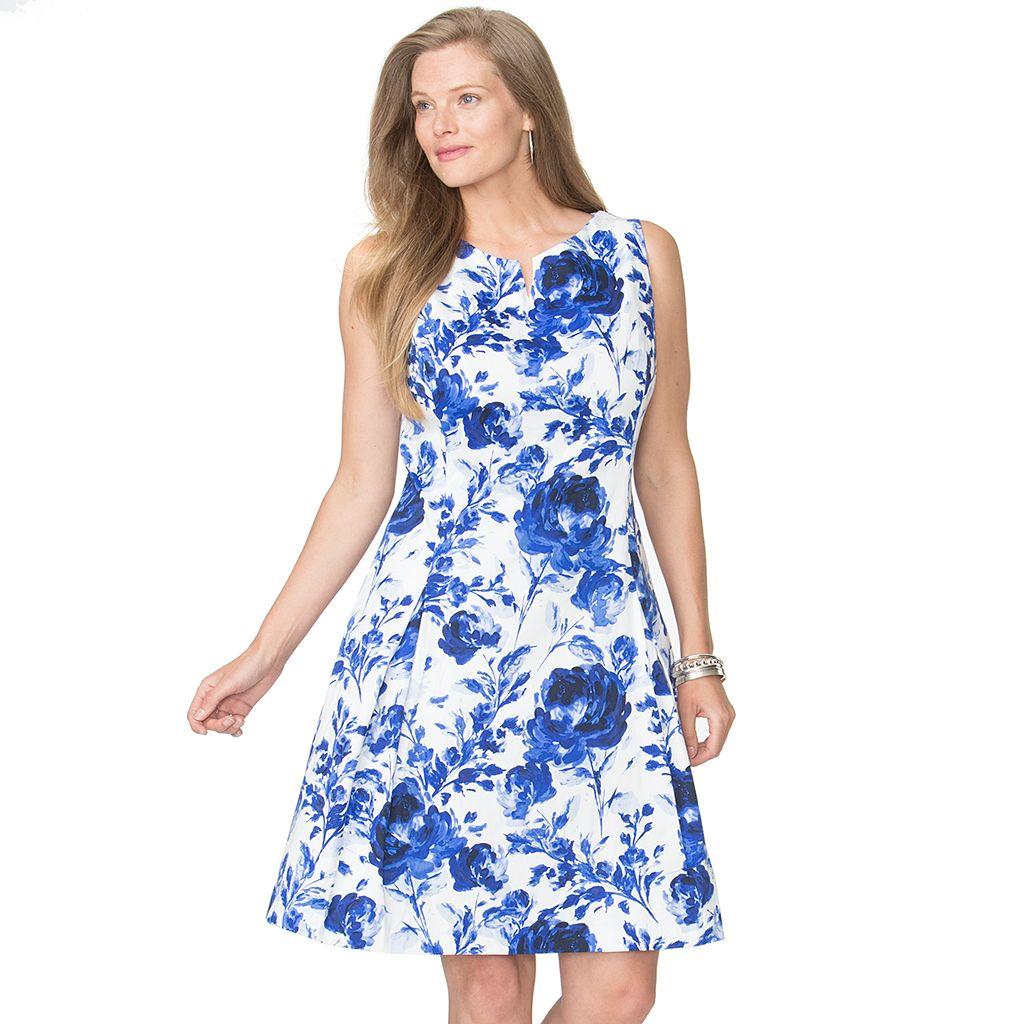 Plus Size Chaps Floral Sateen Fit & Flare Dress