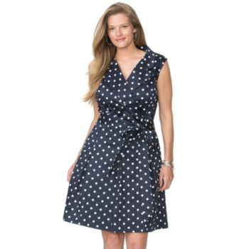 Plus Size Chaps Polka-Dot Sateen Dress