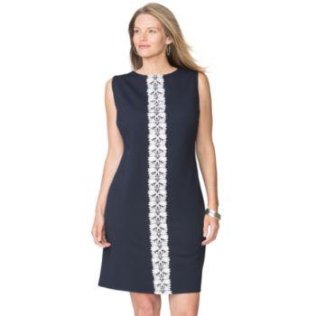 Plus Size Chaps Lace-Trim Jacquard Dress