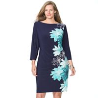 Plus Size Chaps Floral Pleated Sheath Dress