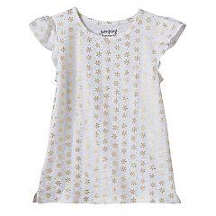 Girls 4-10 Jumping Beans® Print Flutter Sleeves Tee