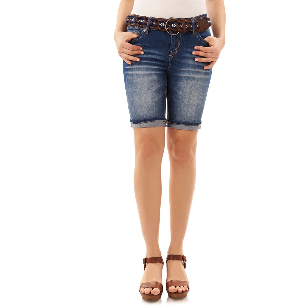 Juniors' Wallflower Luscious Curvy Jean Bermuda Shorts