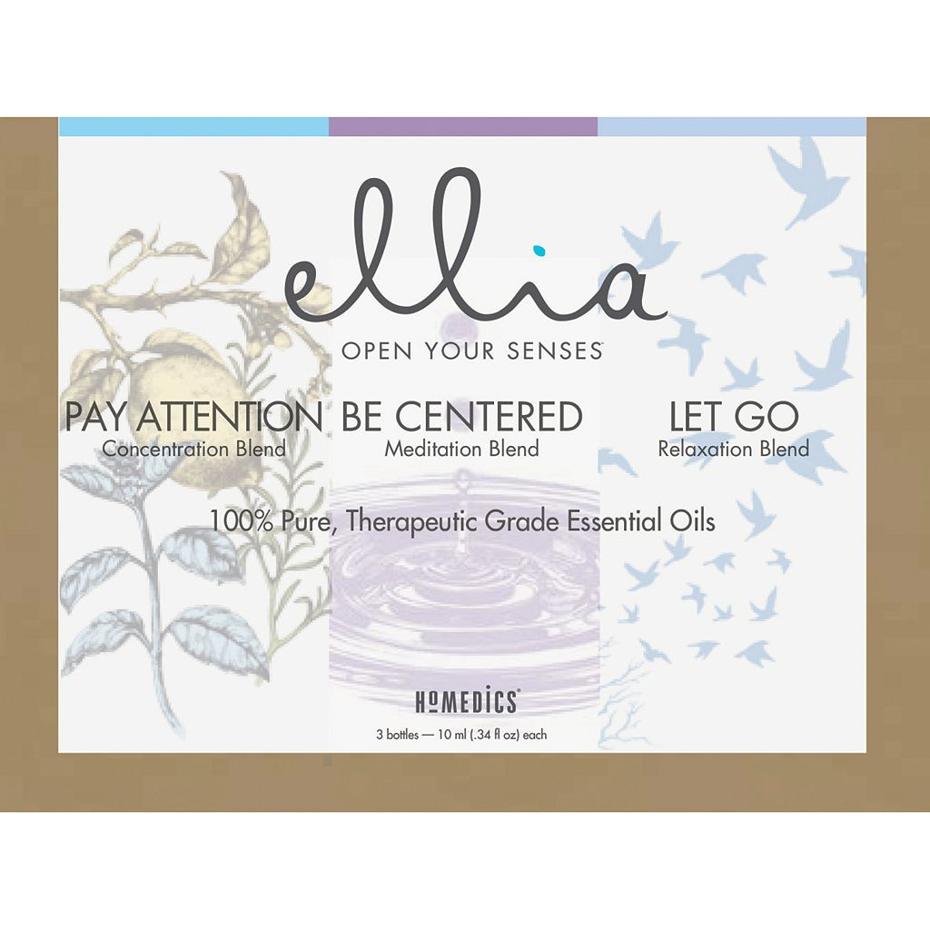 Ellia by HoMedics Pay Attention, Be Centered, & Let Go Essential Oils 3-piece Set