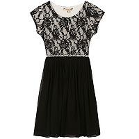 Girls 7-16 & Plus Size Speechless Lace Bodice Mesh Skirt Dress