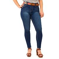 Juniors' Plus Size Wallflower Curvy Skinny Jeans