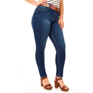Juniors' Plus Size Wallflower Curvy Skinny Jeans