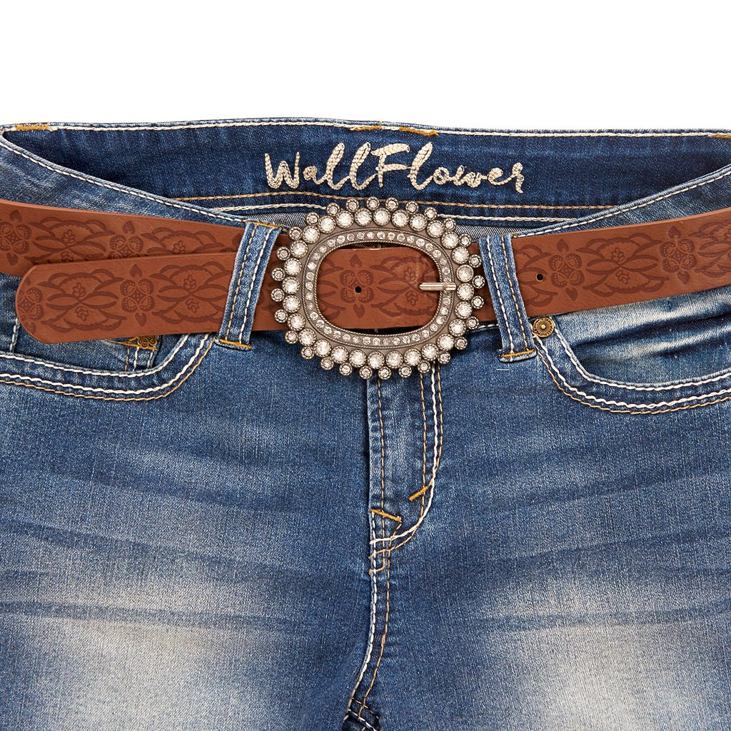 Juniors' Wallflower Legendary Embroidered Midi Jean Shorts