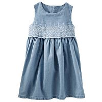 Toddler Girl OshKosh B'gosh® Two-Tier Eyelet Chambray Dress