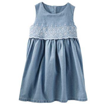 Toddler Girl OshKosh B'gosh® Two-Tier Eyelet Chambray Dress