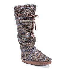MUK LUKS Women's Grace Marled Tall Boot Slippers