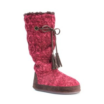 MUK LUKS Women's Grace Cable Knit Tall Boot Slippers