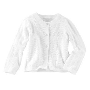 Toddler Girl OshKosh B'gosh® White Pointelle Cardigan