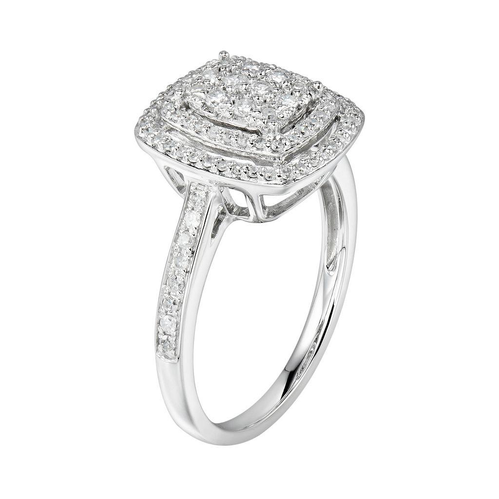 10k White Gold 1/2 Carat T.W. Diamond Halo Ring