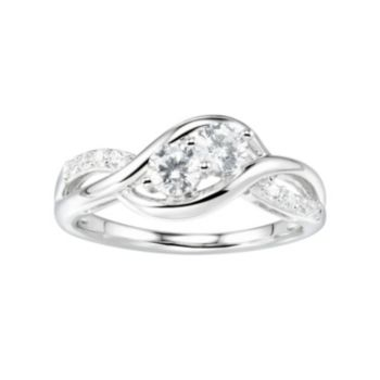 DiamonLuxe Sterling Silver 1 Carat T.W. Simulated Diamond 2-Stone Ring