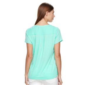 Women's Apt. 9® Zipper-Neck Crepe Top