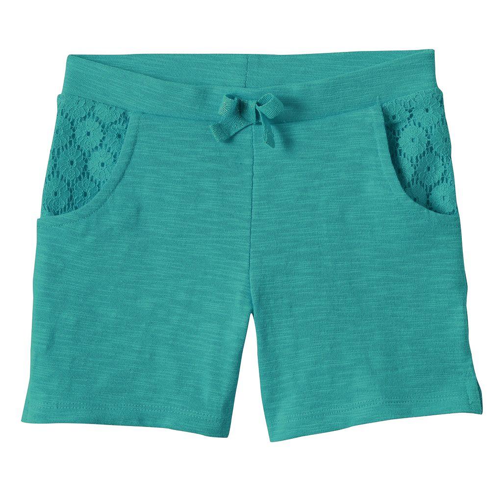 Toddler Girl Jumping Beans® Lace Trim Slubbed Bermuda Shorts