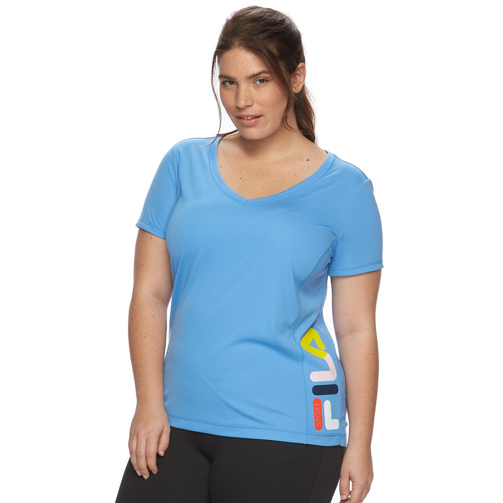Plus Size FILA SPORT® Heritage Logo V-Neck Workout Tee
