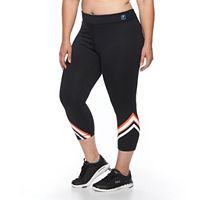 Plus Size FILA SPORT® Reflective Striped Crop Workout Leggings