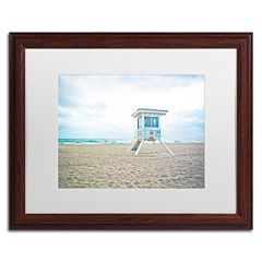 Trademark Fine Art Florida Beach Chair 2 Dark Finish Framed Wall Art