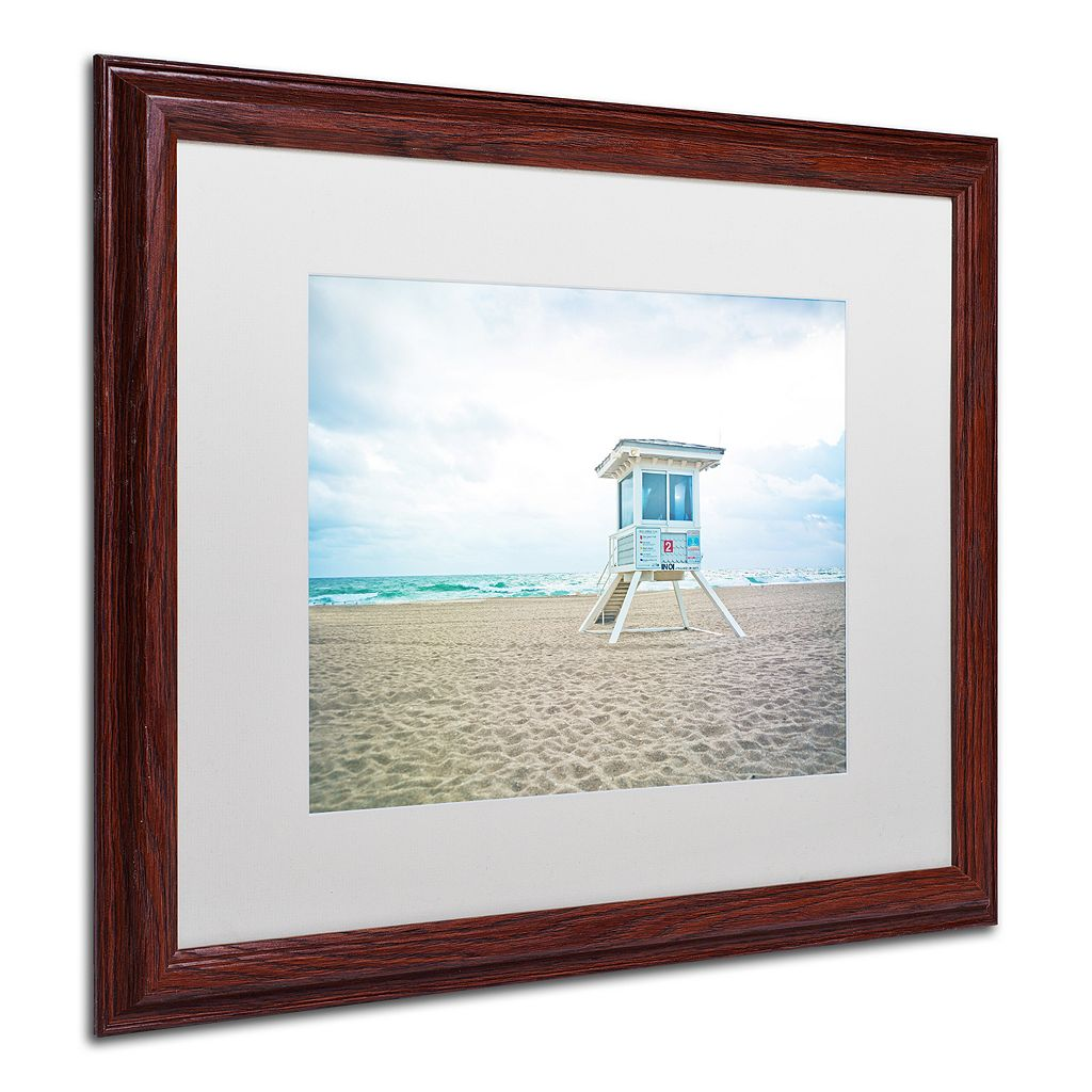 Trademark Fine Art Florida Beach Chair 2 Dark Finish Framed Wall Art